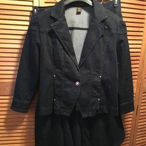 Ashley Stewart Blue Jean Jacket & Skirt Suit